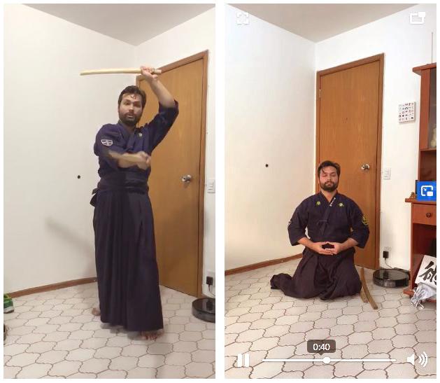 Kenzo Dino treinando em casa