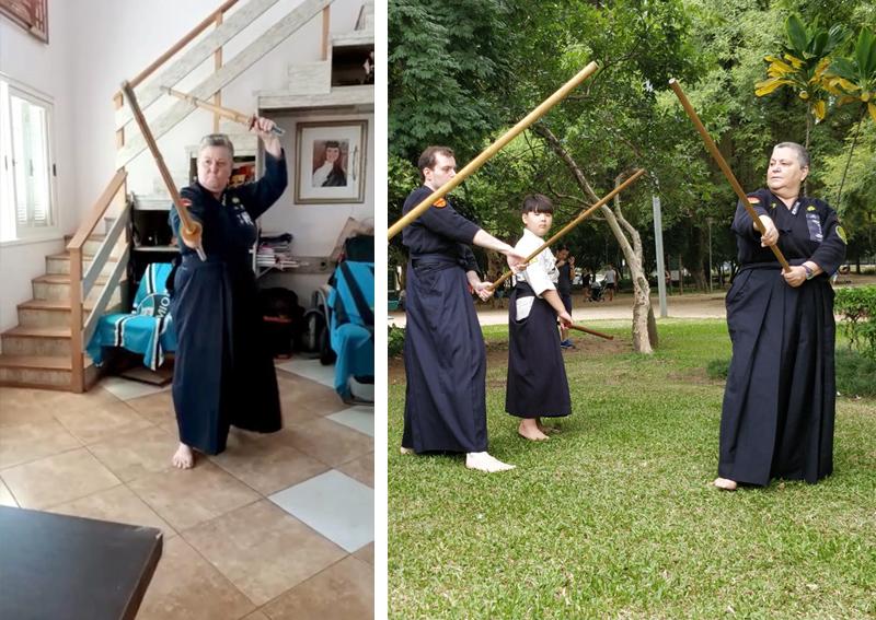 Aluna Mára treinando em casa e outra foto treinando Jojutsu com colegas de treino