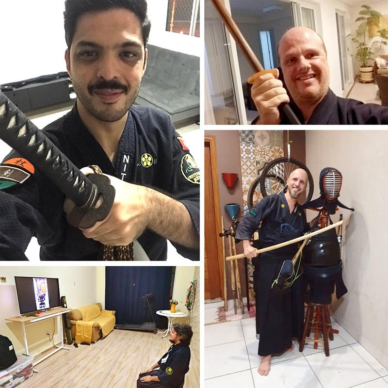 Foto dos alunos treinando em casa