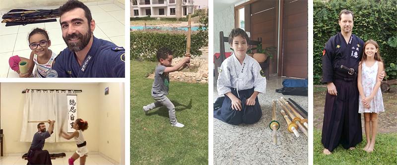 Crianças treinando em casa