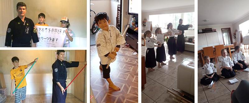 Crianças treinando com seus familiares