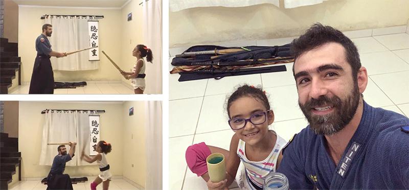 Coordenador Rodolfo e sua filha treinando