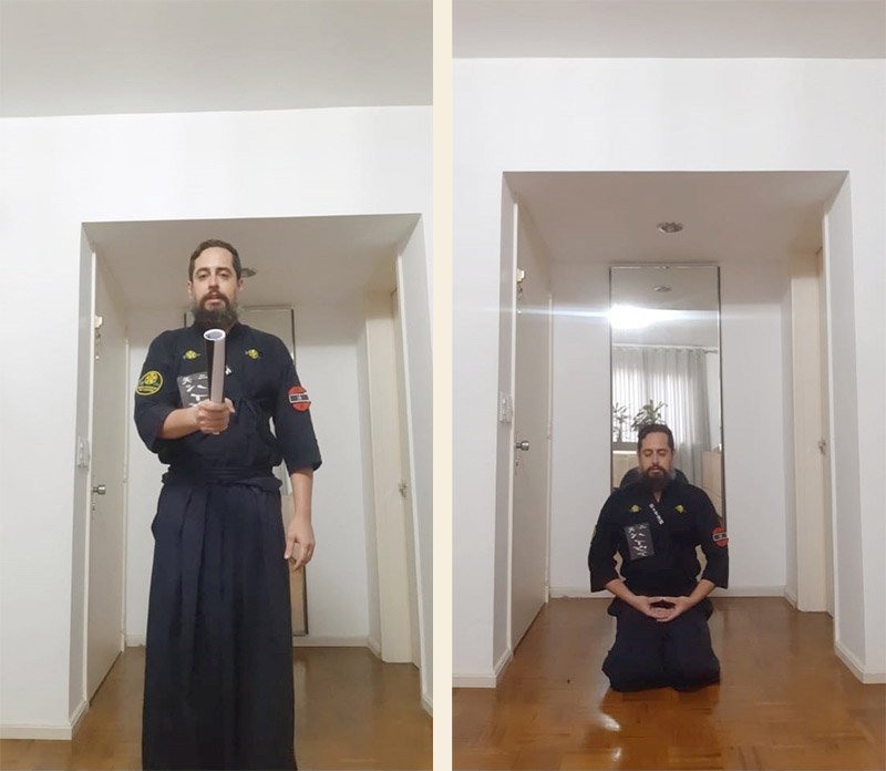 Coordenador Paiva do dojo Tucuruvi demonstrando treino com revista e outra foto em meditação