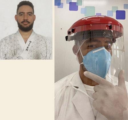 Aluno Xavier do dojo Tijuca com equipamento de proteção individual no trabalho