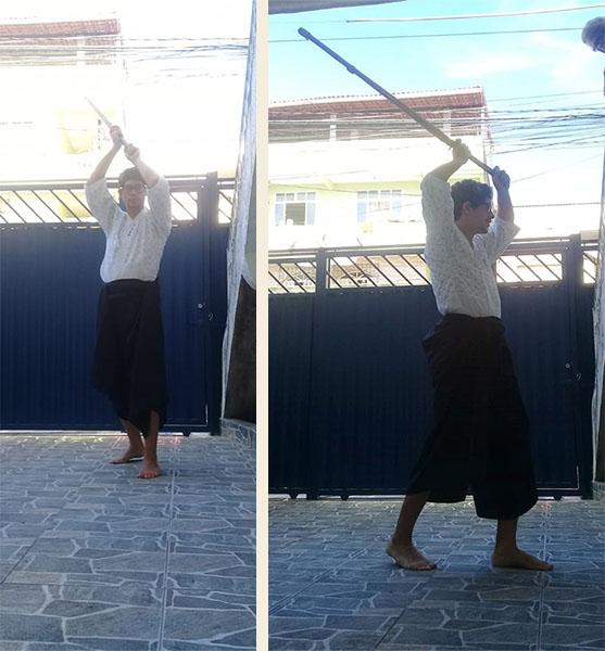 Aluno Barros, do dojo Salvador, treinando em casa