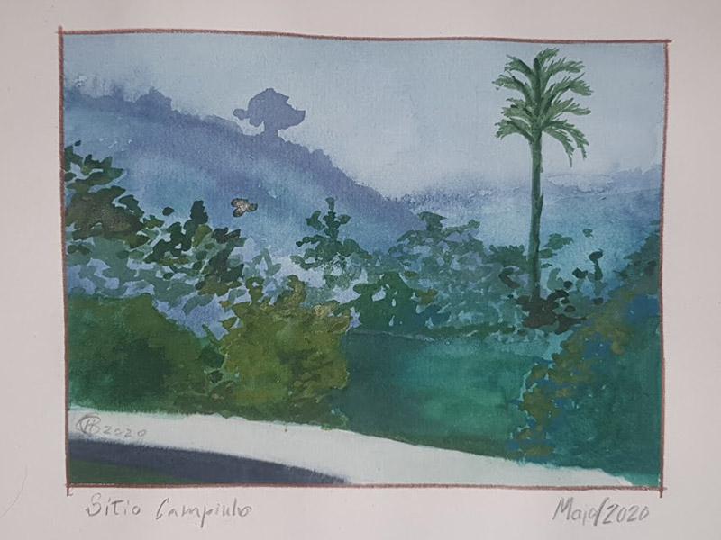 Pintura de uma paisagem feita pelo aluno Pires