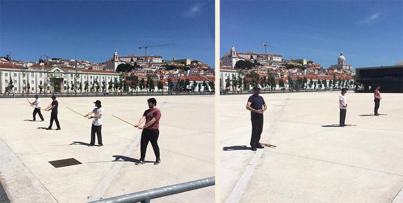 Alunos do dojo Lisboa, em Portugal, em treino ao ar livre