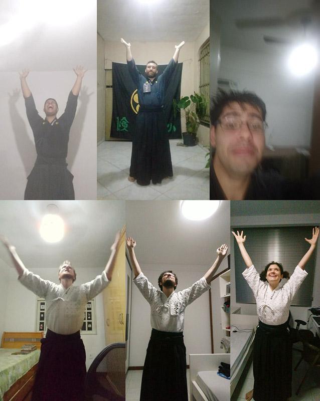 Alunos do dojo Vitoria com os braços para cima fazendo Genkidama, em referência ao desenho Dragon Ball