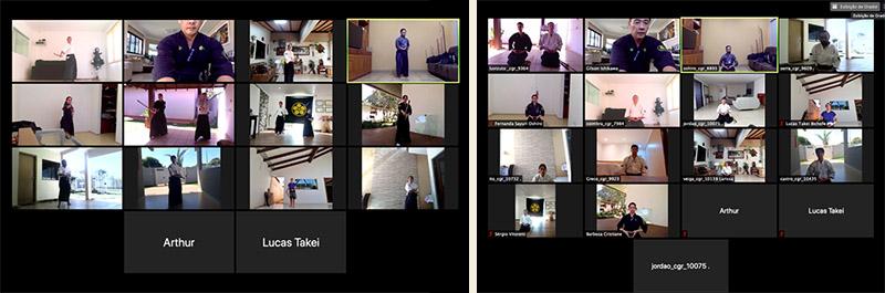 Alunos do dojo Campo Grande treinando nas aulas virtuais